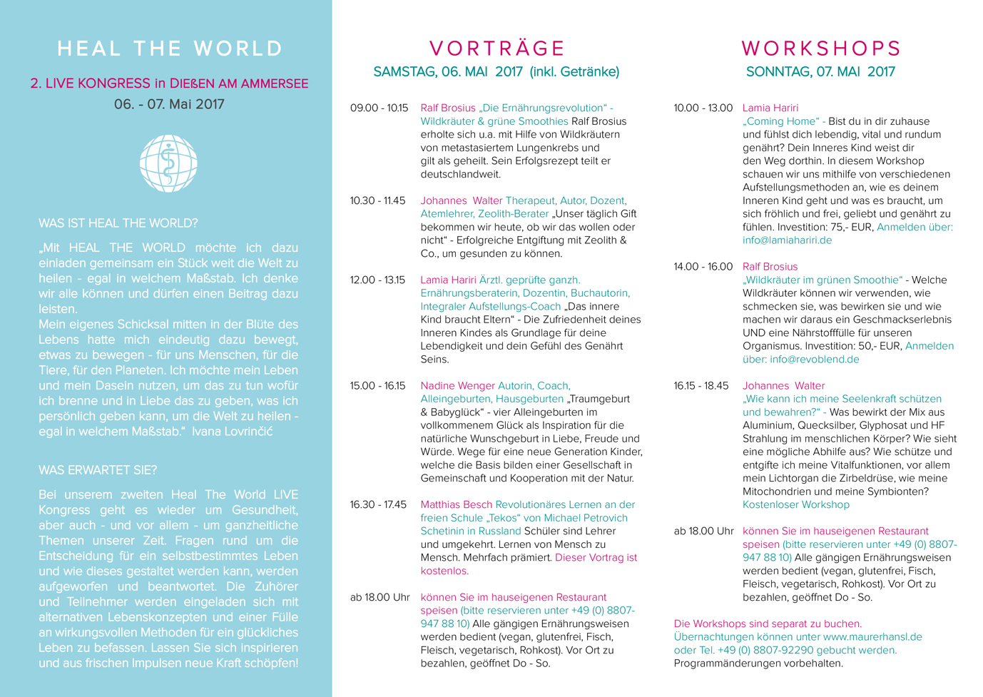 2. LIVE Healt the World Kongress Themen
